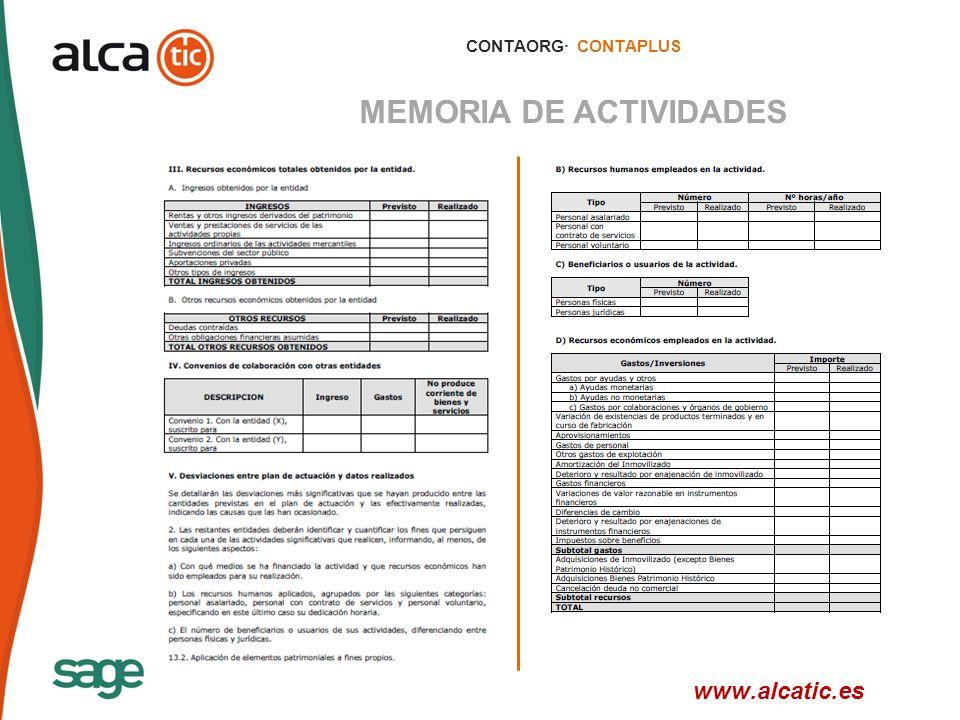 15 © 2008 Sage CONTAORG· CONTAPLUS MEMORIA DE ACTIVIDADES www.alcatic.es