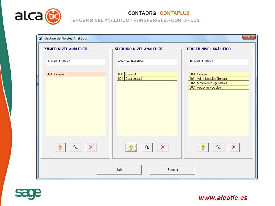 18 © 2008 Sage CONTAORG· CONTAPLUS TERCER NIVEL ANALITICO TRANSFERIBLE A CONTAPLUS www.alcatic.es