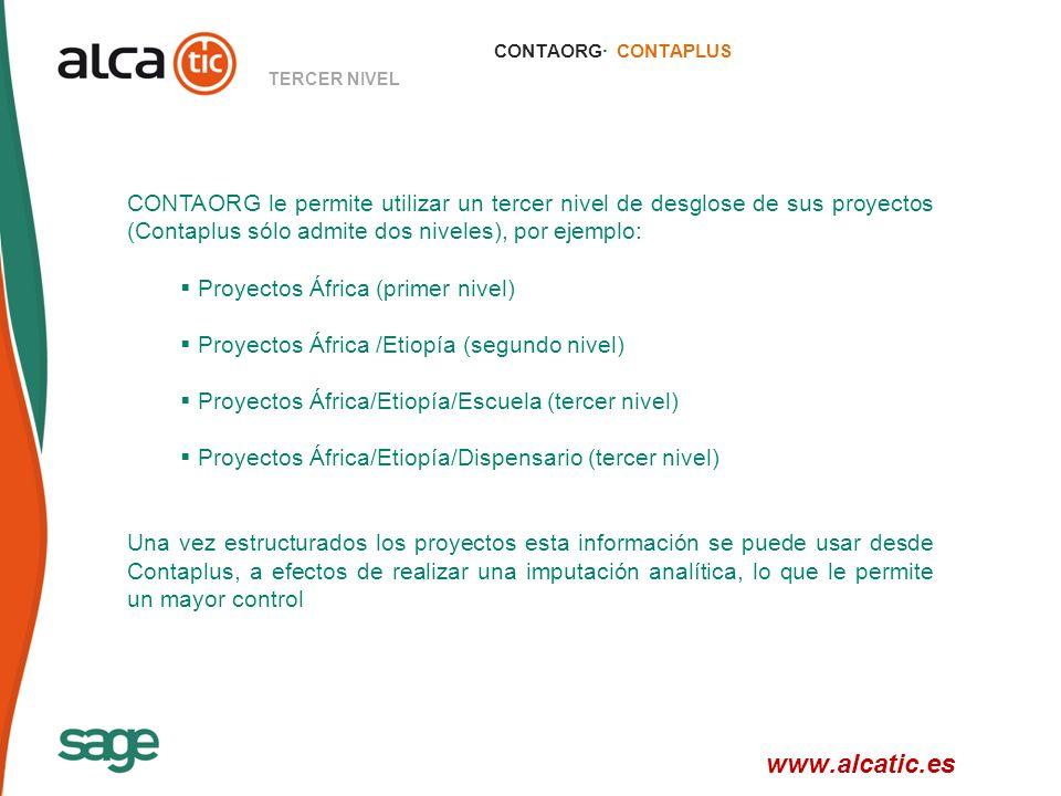 19 © 2008 Sage CONTAORG· CONTAPLUS TERCER NIVEL CONTAORG le permite utilizar un tercer nivel de desglose de sus proyectos (Contaplus sólo admite dos niveles), por ejemplo: Proyectos África (primer nivel) Proyectos África /Etiopía (segundo nivel) Proyectos África/Etiopía/Escuela (tercer nivel) Proyectos África/Etiopía/Dispensario (tercer nivel) Una vez estructurados los proyectos esta información se puede usar desde Contaplus, a efectos de realizar una imputación analítica, lo que le permite un mayor control www.alcatic.es