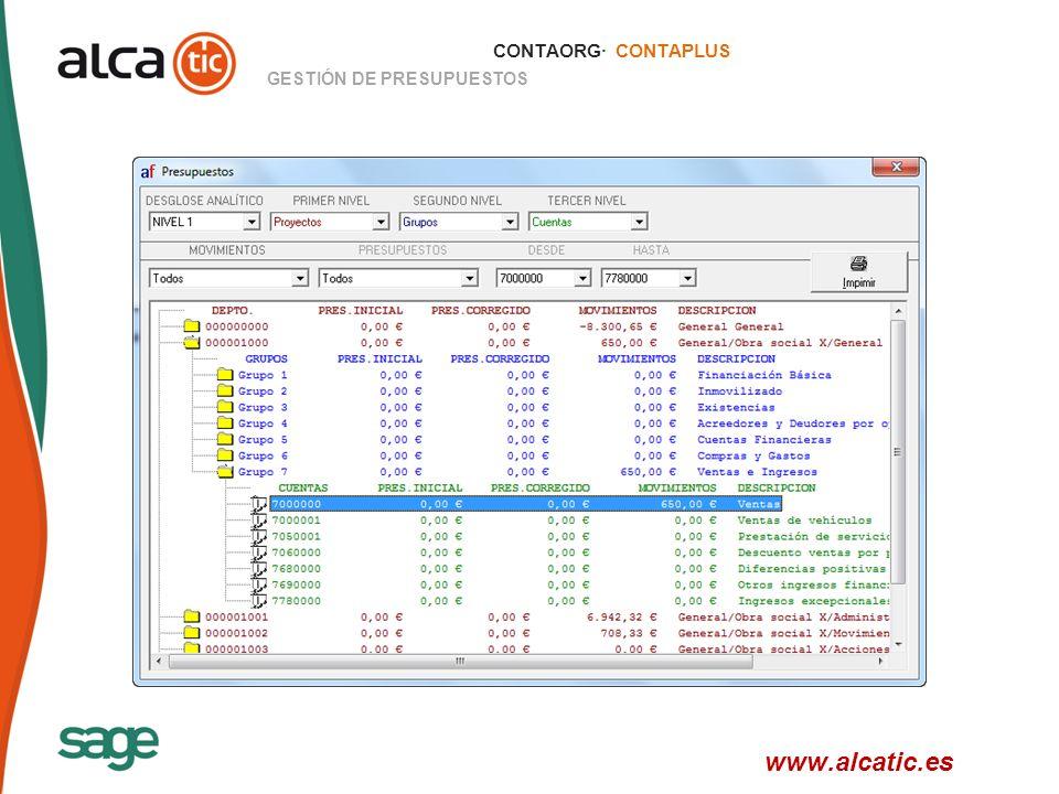 20 © 2008 Sage CONTAORG· CONTAPLUS GESTIÓN DE PRESUPUESTOS www.alcatic.es