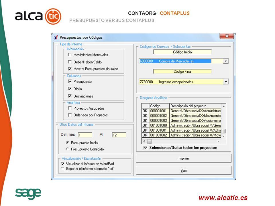 23 © 2008 Sage CONTAORG· CONTAPLUS PRESUPUESTO VERSUS CONTAPLUS www.alcatic.es