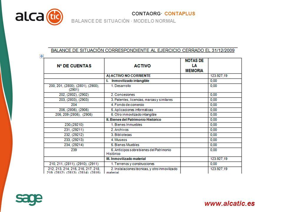 25 © 2008 Sage CONTAORG· CONTAPLUS BALANCE DE SITUACIÓN · MODELO NORMAL www.alcatic.es
