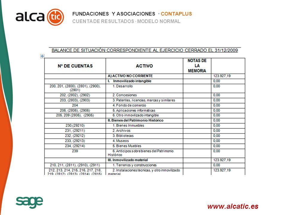 26 © 2008 Sage FUNDACIONES Y ASOCIACIONES · CONTAPLUS CUENTA DE RESULTADOS · MODELO NORMAL www.alcatic.es