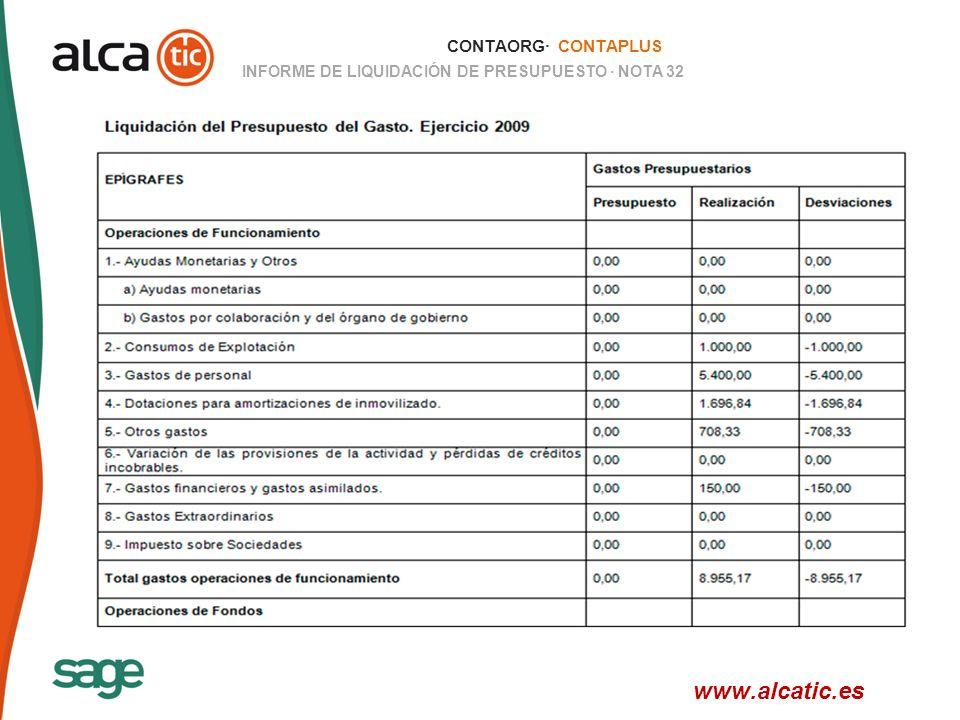 29 © 2008 Sage CONTAORG· CONTAPLUS INFORME DE LIQUIDACIÓN DE PRESUPUESTO · NOTA 32 www.alcatic.es