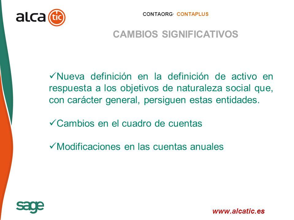 9 © 2008 Sage CONTAORG· CONTAPLUS CAMBIOS SIGNIFICATIVOS Nueva definición en la definición de activo en respuesta a los objetivos de naturaleza social que, con carácter general, persiguen estas entidades.
