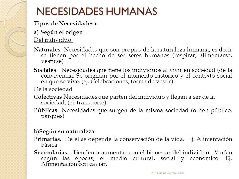 Tipos de Necesidades : a) Según el origen Del individuo. Naturales Necesidades que son propias de la naturaleza humana, es decir se tienen por el hech