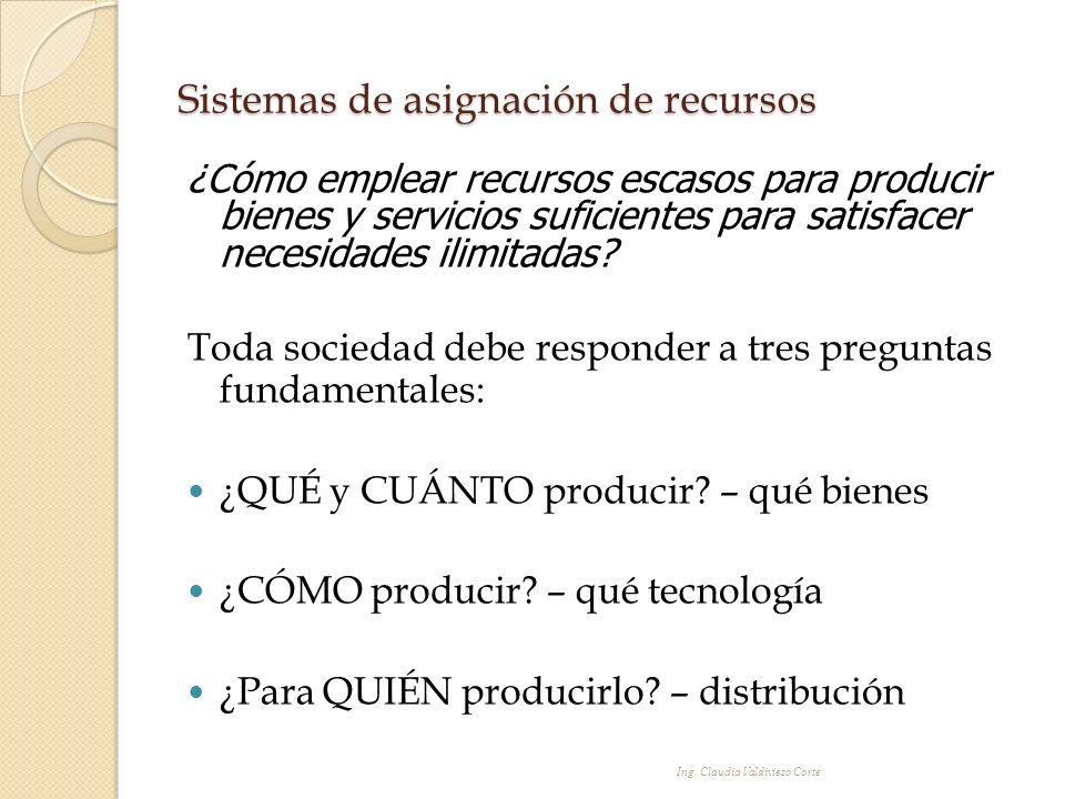 Sistemas de asignación de recursos ¿Cómo emplear recursos escasos para producir bienes y servicios suficientes para satisfacer necesidades ilimitadas?