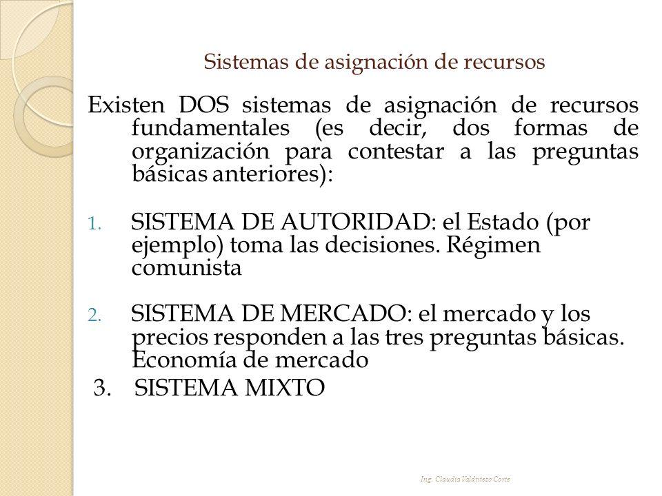 Sistemas de asignación de recursos Existen DOS sistemas de asignación de recursos fundamentales (es decir, dos formas de organización para contestar a