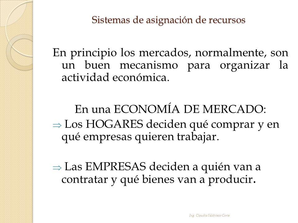 Sistemas de asignación de recursos En principio los mercados, normalmente, son un buen mecanismo para organizar la actividad económica. En una ECONOMÍ