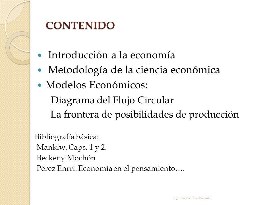 CONTENIDO Introducción a la economía Metodología de la ciencia económica Modelos Económicos: Diagrama del Flujo Circular La frontera de posibilidades