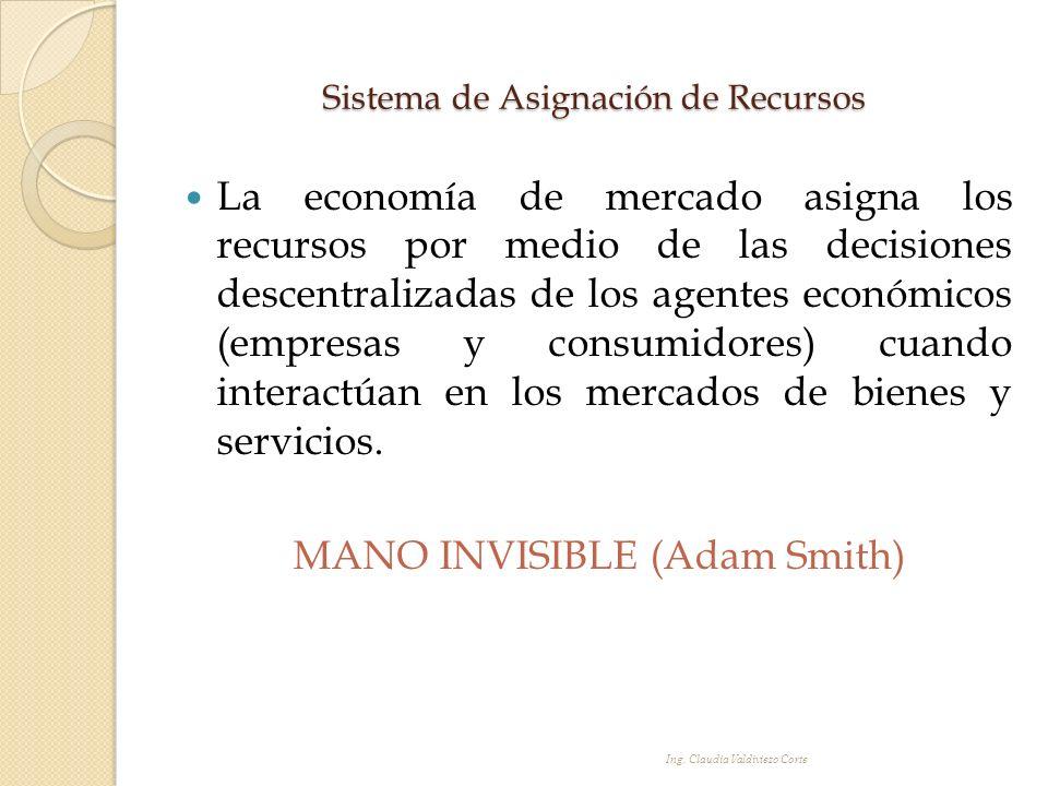 Sistema de Asignación de Recursos La economía de mercado asigna los recursos por medio de las decisiones descentralizadas de los agentes económicos (e