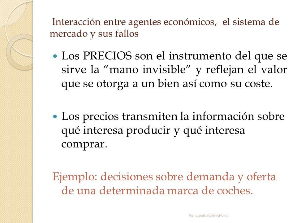 Interacción entre agentes económicos, el sistema de mercado y sus fallos Los PRECIOS son el instrumento del que se sirve la mano invisible y reflejan