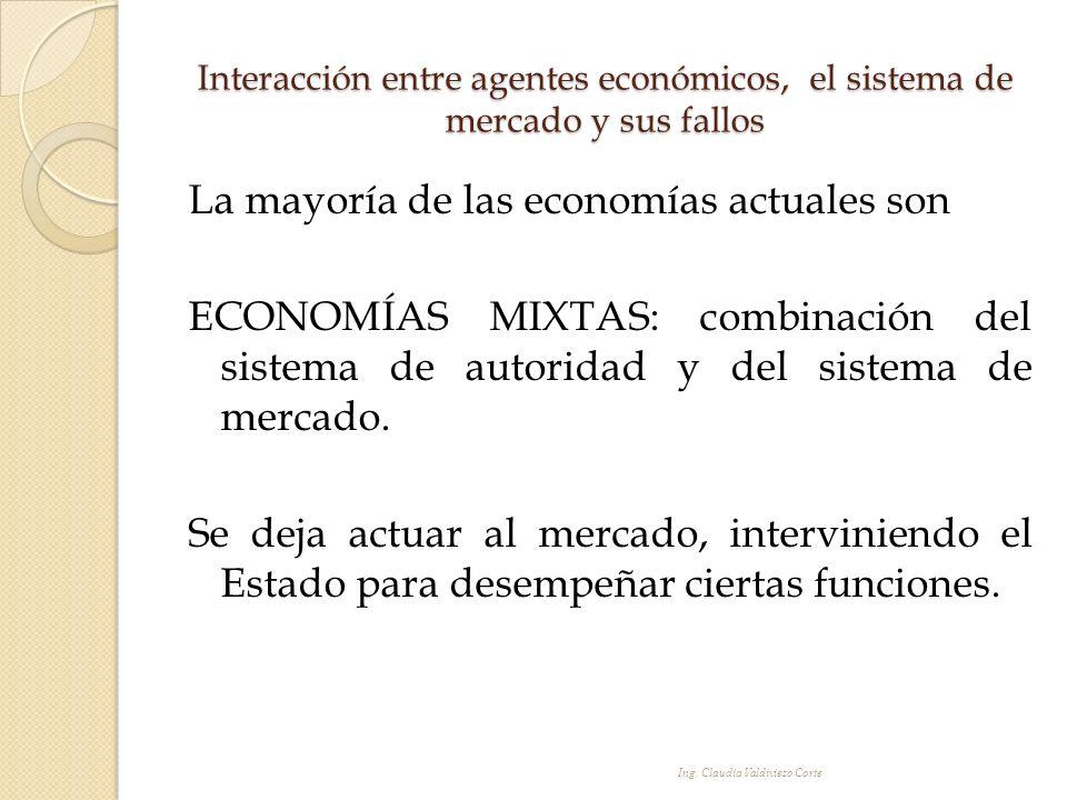Interacción entre agentes económicos, el sistema de mercado y sus fallos La mayoría de las economías actuales son ECONOMÍAS MIXTAS: combinación del si