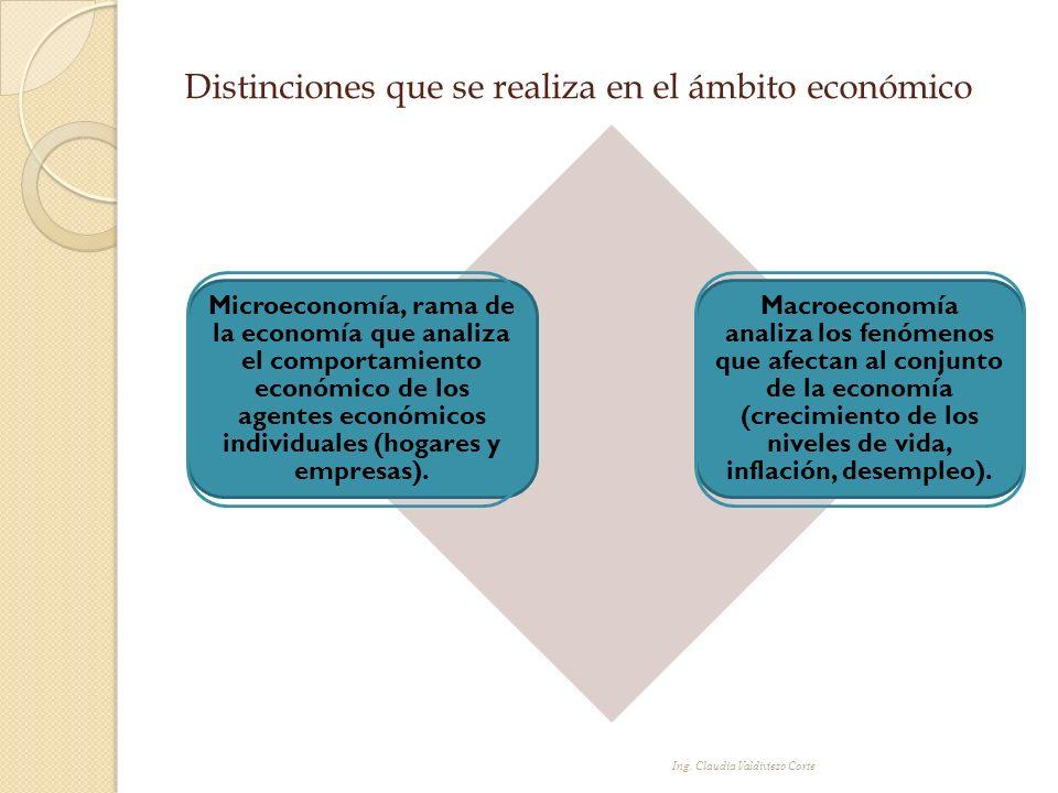 Distinciones que se realiza en el ámbito económico Microeconomía, rama de la economía que analiza el comportamiento económico de los agentes económico