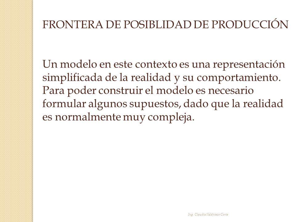 FRONTERA DE POSIBLIDAD DE PRODUCCIÓN Un modelo en este contexto es una representación simplificada de la realidad y su comportamiento. Para poder cons