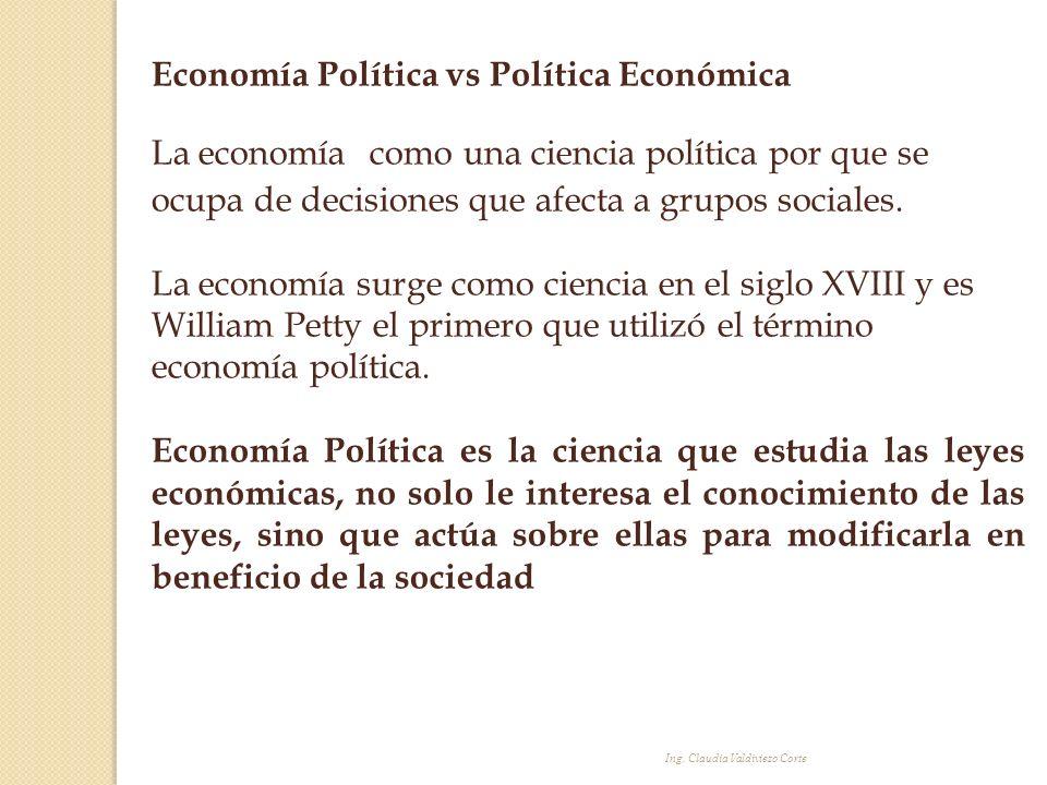 Ing. Claudia Valdiviezo Corte Economía Política vs Política Económica La economía como una ciencia política por que se ocupa de decisiones que afecta