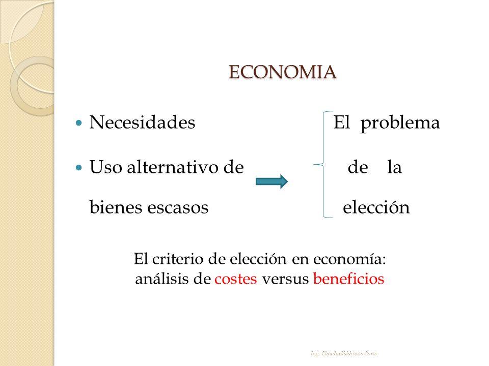 ECONOMIA Necesidades El problema Uso alternativo de de la bienes escasos elección El criterio de elección en economía: análisis de costes versus benef
