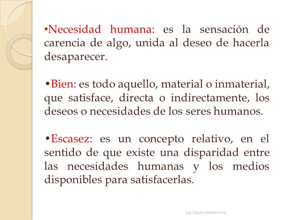 Necesidad humana: es la sensación de carencia de algo, unida al deseo de hacerla desaparecer. Bien: es todo aquello, material o inmaterial, que satisf