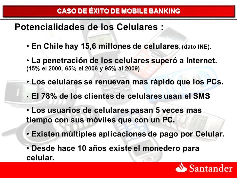 CASO DE ÉXITO DE MOBILE BANKING Potencialidades de los Celulares : En Chile hay 15,6 millones de celulares.