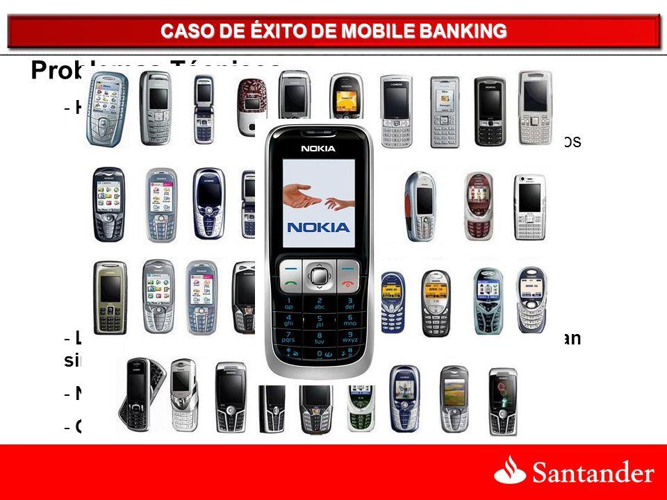CASO DE ÉXITO DE MOBILE BANKING Problemas Técnicos - Habían 3 tecnologías distintas para el Celular -JAVA : 6 versiones distintas adaptadas además a distintos teclados y displays.