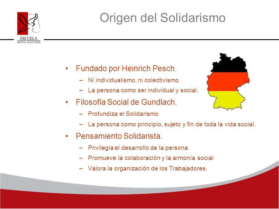 Origen del Solidarismo Fundado por Heinrich Pesch. –Ni individualismo, ni colectivismo –La persona como ser individual y social. Filosofía Social de G