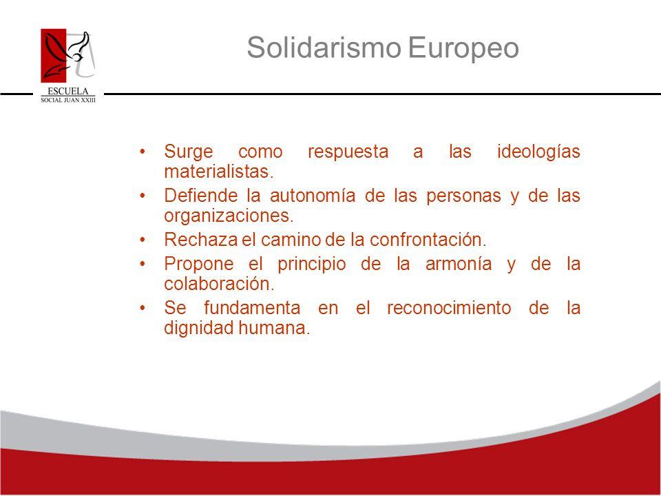 Solidarismo Europeo Surge como respuesta a las ideologías materialistas. Defiende la autonomía de las personas y de las organizaciones. Rechaza el cam