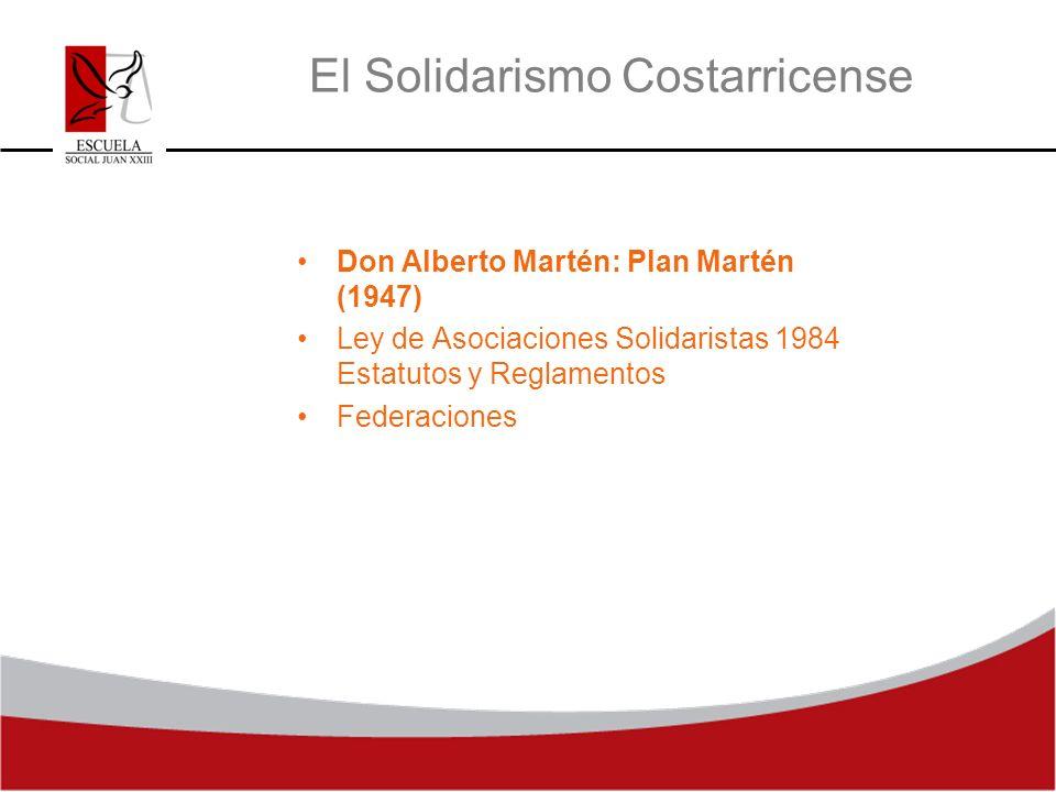 El Solidarismo Costarricense Don Alberto Martén: Plan Martén (1947) Ley de Asociaciones Solidaristas 1984 Estatutos y Reglamentos Federaciones