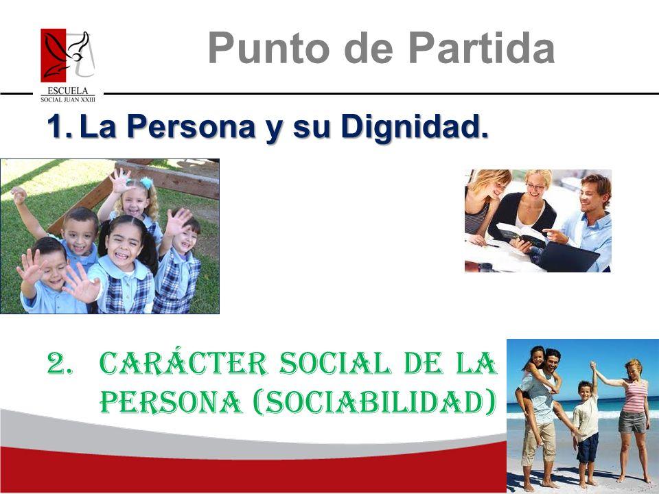 Punto de Partida 1.La Persona y su Dignidad. 2.Carácter social de la persona (Sociabilidad)