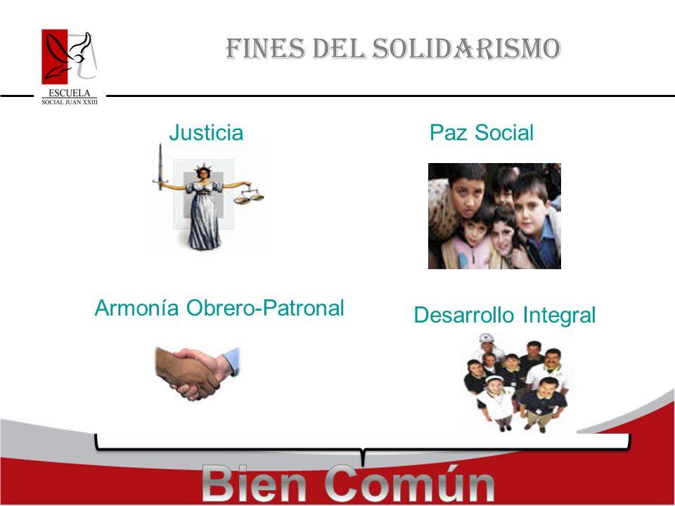 FINES DEL SOLIDARISMO JusticiaPaz Social Armonía Obrero-Patronal Desarrollo Integral