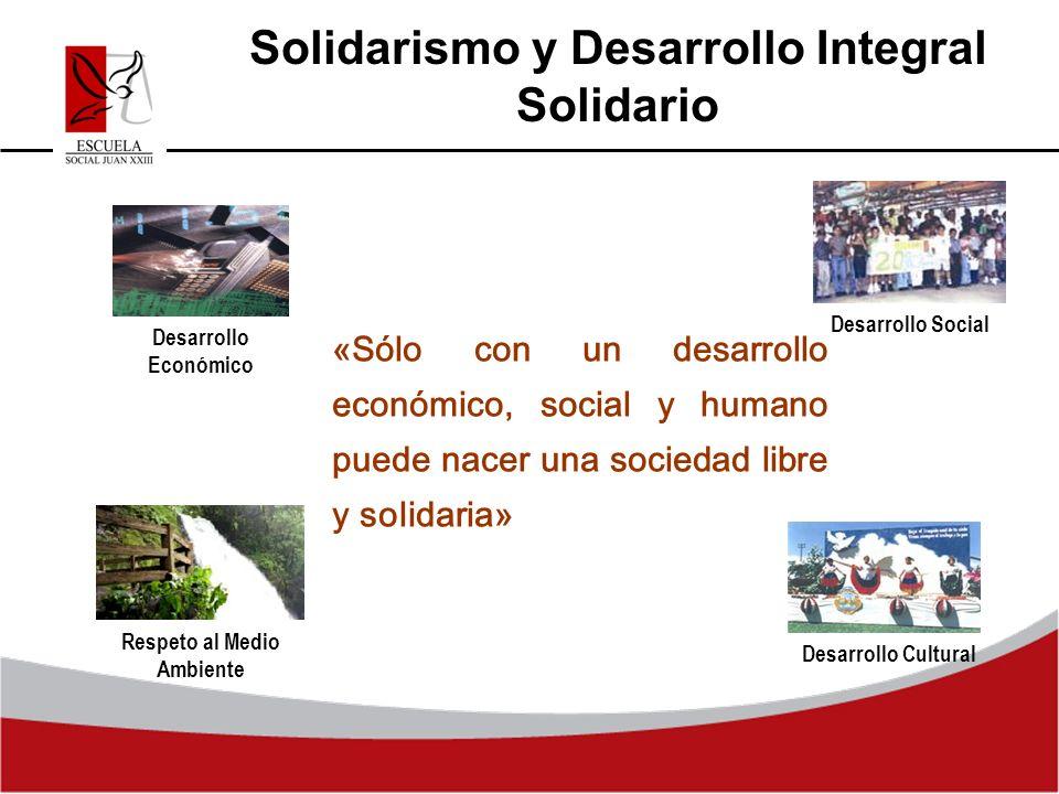 Solidarismo y Desarrollo Integral Solidario «Sólo con un desarrollo económico, social y humano puede nacer una sociedad libre y solidaria» Respeto al