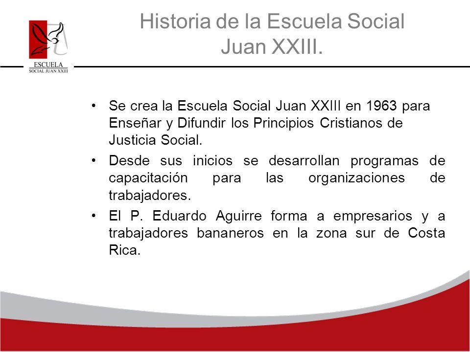 Historia de la Escuela Social Juan XXIII. Se crea la Escuela Social Juan XXIII en 1963 para Enseñar y Difundir los Principios Cristianos de Justicia S