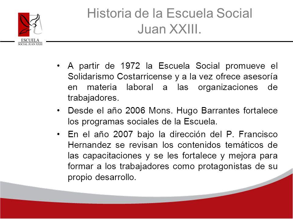 Historia de la Escuela Social Juan XXIII. A partir de 1972 la Escuela Social promueve el Solidarismo Costarricense y a la vez ofrece asesoría en mater
