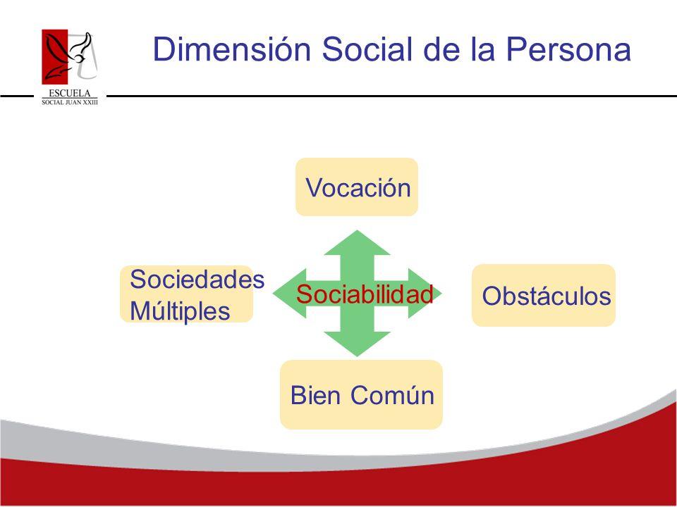 Sociedades Múltiples Dimensión Social de la Persona Sociabilidad Vocación Obstáculos Bien Común