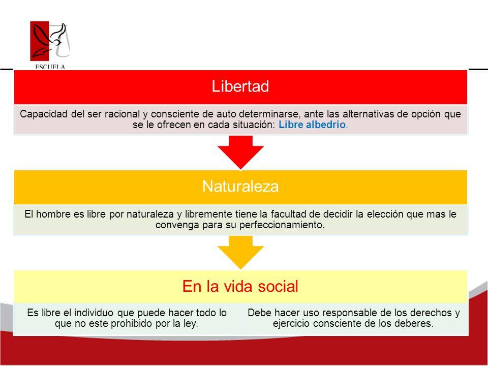 En la vida social Es libre el individuo que puede hacer todo lo que no este prohibido por la ley. Debe hacer uso responsable de los derechos y ejercic
