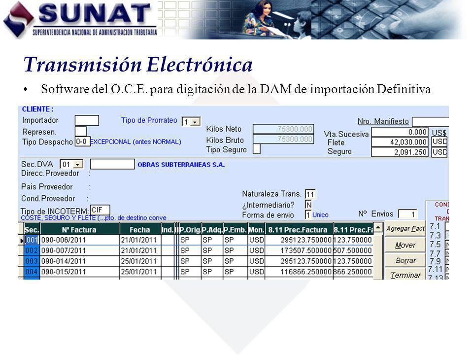 Software del O.C.E. para digitación de la DAM de importación Definitiva Transmisión Electrónica