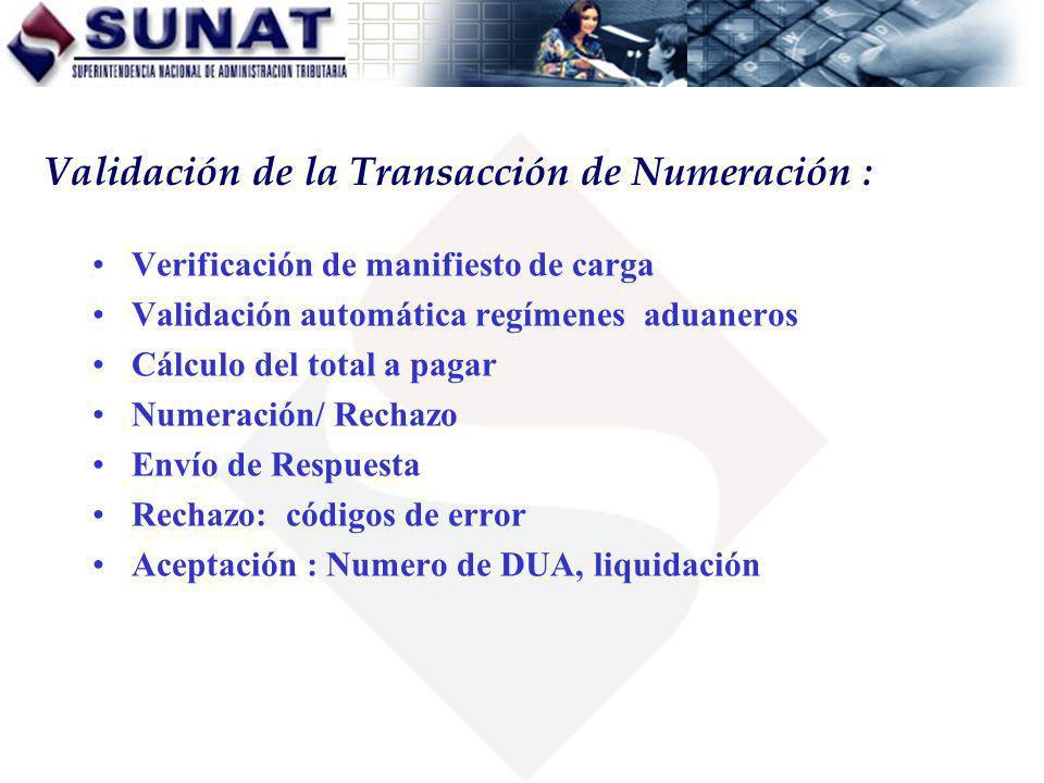 Verificación de manifiesto de carga Validación automática regímenes aduaneros Cálculo del total a pagar Numeración/ Rechazo Envío de Respuesta Rechazo