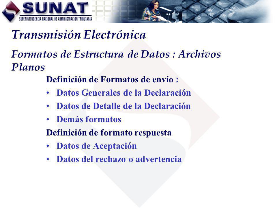 Formatos de Estructura de Datos : Archivos Planos Definición de Formatos de envío : Datos Generales de la Declaración Datos de Detalle de la Declaraci