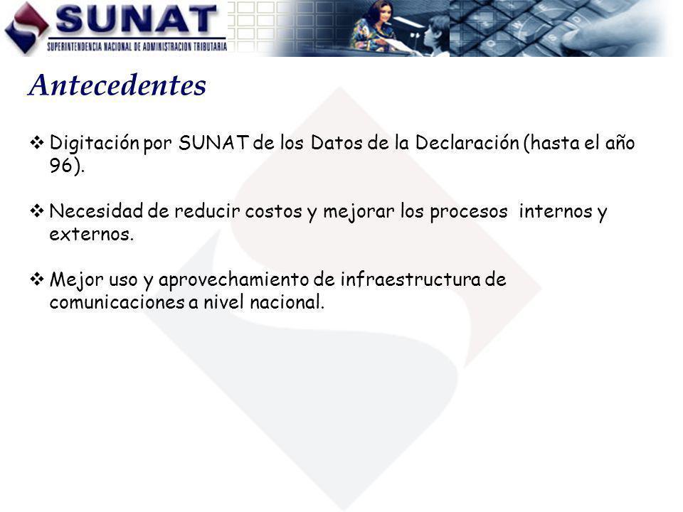 Antecedentes Digitación por SUNAT de los Datos de la Declaración (hasta el año 96). Necesidad de reducir costos y mejorar los procesos internos y exte