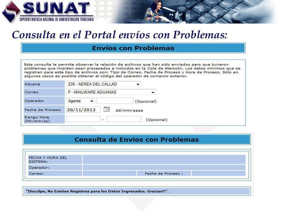Consulta en el Portal envíos con Problemas:
