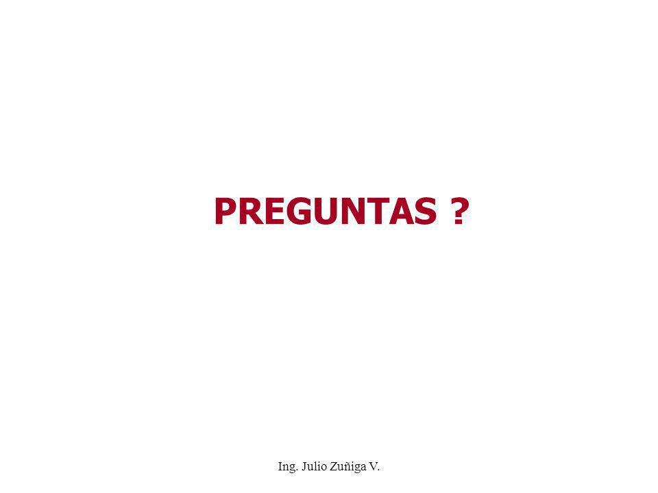 PREGUNTAS ? Ing. Julio Zuñiga V.