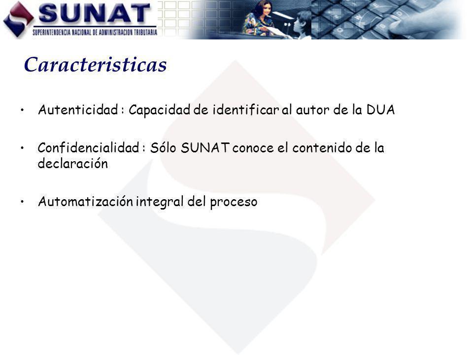 Autenticidad : Capacidad de identificar al autor de la DUA Confidencialidad : Sólo SUNAT conoce el contenido de la declaración Automatización integral