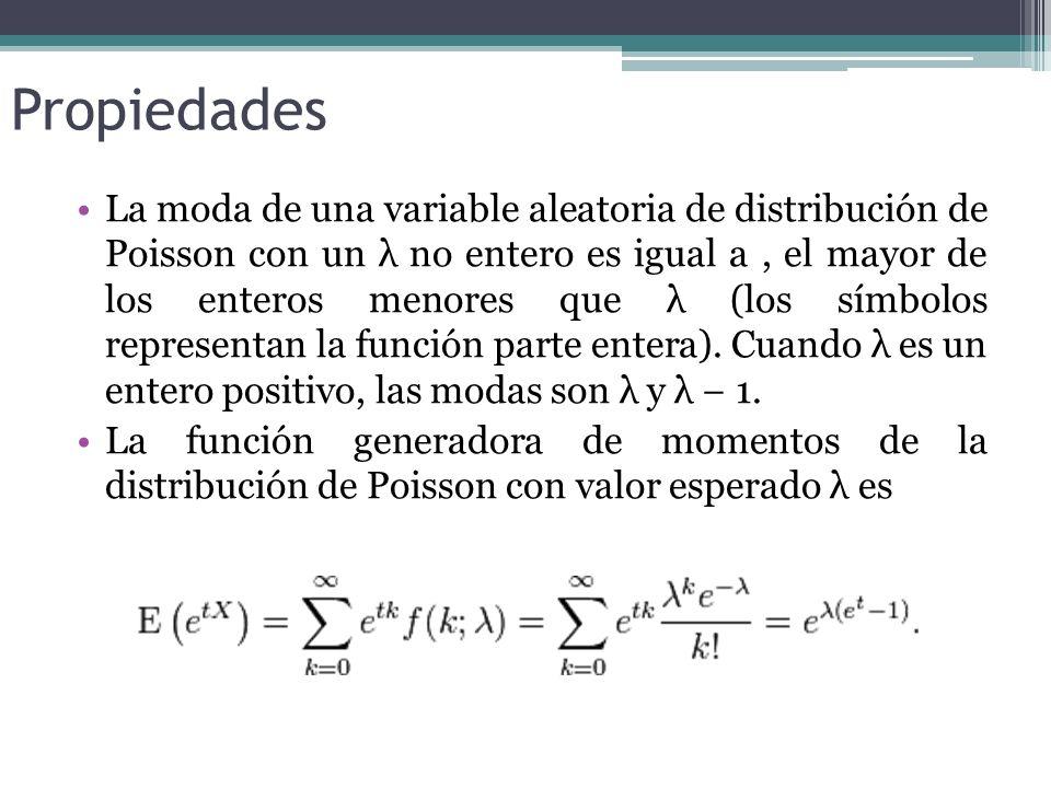 Propiedades La moda de una variable aleatoria de distribución de Poisson con un λ no entero es igual a, el mayor de los enteros menores que λ (los símbolos representan la función parte entera).