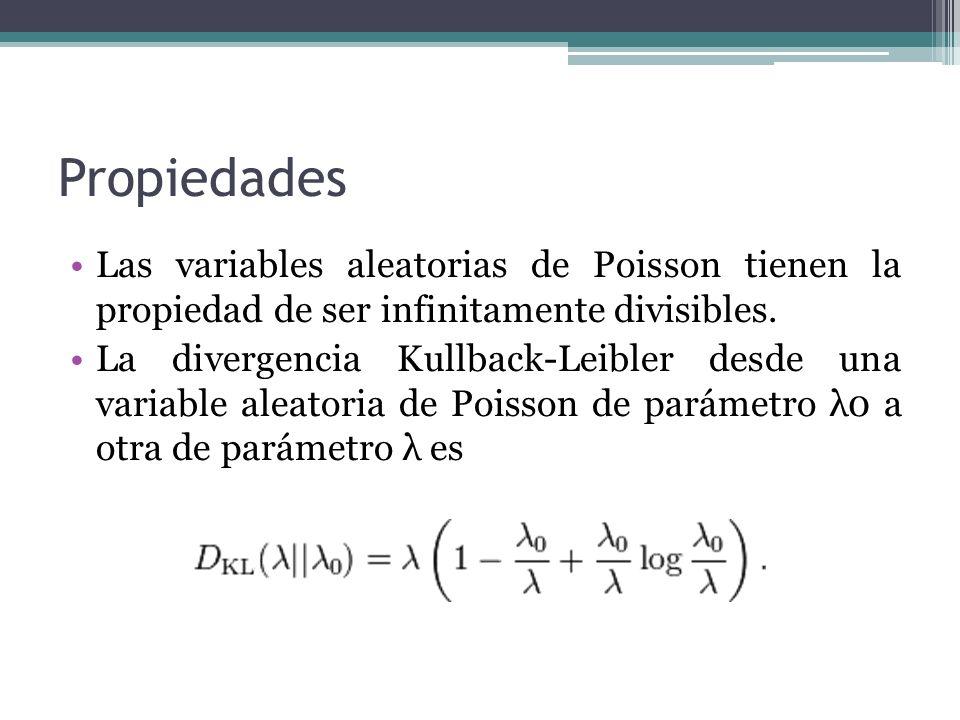 Propiedades Las variables aleatorias de Poisson tienen la propiedad de ser infinitamente divisibles. La divergencia Kullback-Leibler desde una variabl