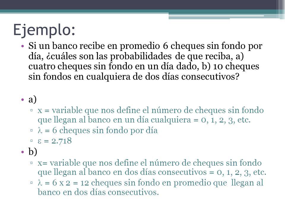 Ejemplo: Si un banco recibe en promedio 6 cheques sin fondo por día, ¿cuáles son las probabilidades de que reciba, a) cuatro cheques sin fondo en un d