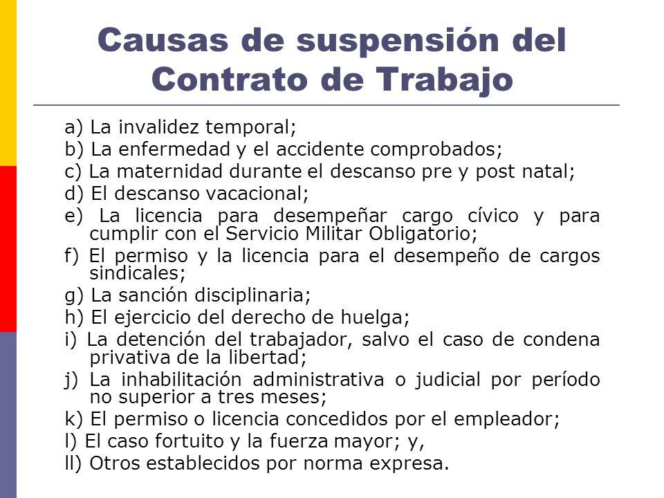 Causas de suspensión del Contrato de Trabajo a) La invalidez temporal; b) La enfermedad y el accidente comprobados; c) La maternidad durante el descan