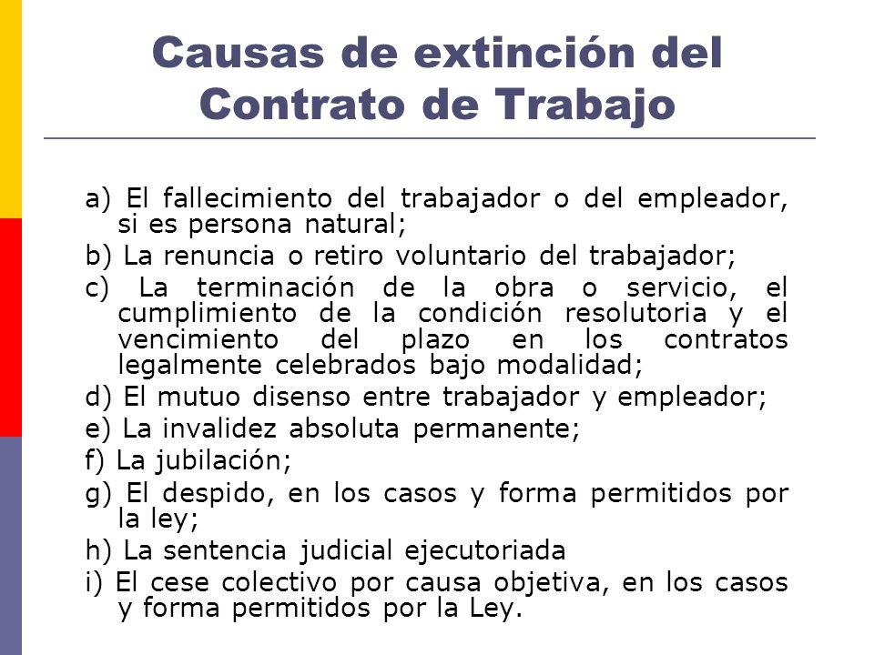 Causas de extinción del Contrato de Trabajo a) El fallecimiento del trabajador o del empleador, si es persona natural; b) La renuncia o retiro volunta