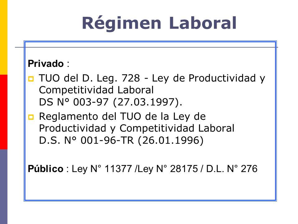 Régimen Laboral Privado : TUO del D. Leg. 728 - Ley de Productividad y Competitividad Laboral DS N° 003-97 (27.03.1997). Reglamento del TUO de la Ley