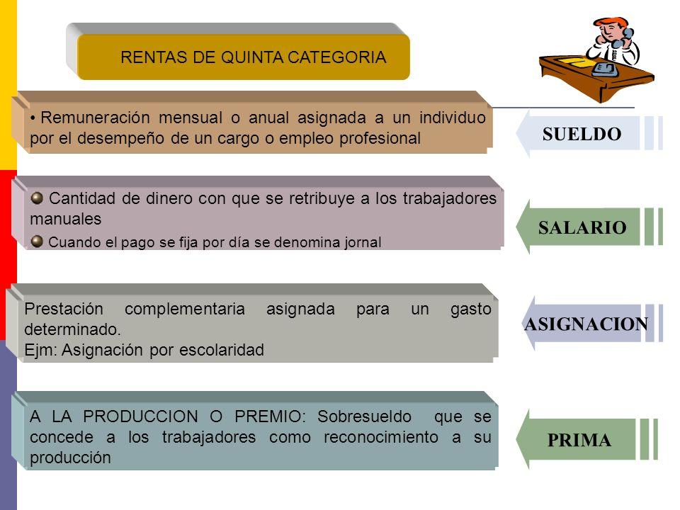 RENTAS DE QUINTA CATEGORIA Remuneración mensual o anual asignada a un individuo por el desempeño de un cargo o empleo profesional Cantidad de dinero c