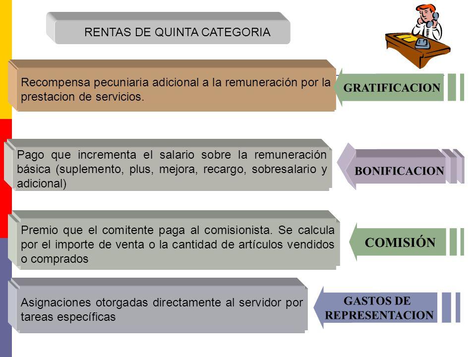 RENTAS DE QUINTA CATEGORIA Recompensa pecuniaria adicional a la remuneración por la prestacion de servicios. GRATIFICACION Pago que incrementa el sala