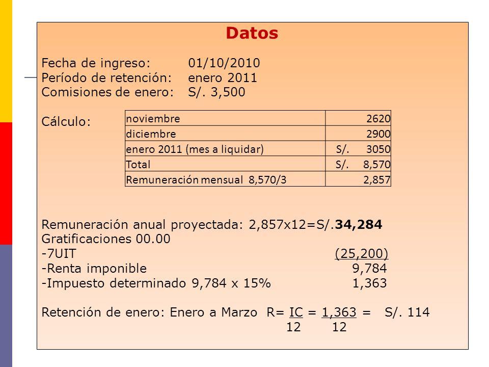 Datos Fecha de ingreso: 01/10/2010 Período de retención: enero 2011 Comisiones de enero:S/. 3,500 Cálculo: Remuneración anual proyectada: 2,857x12=S/.